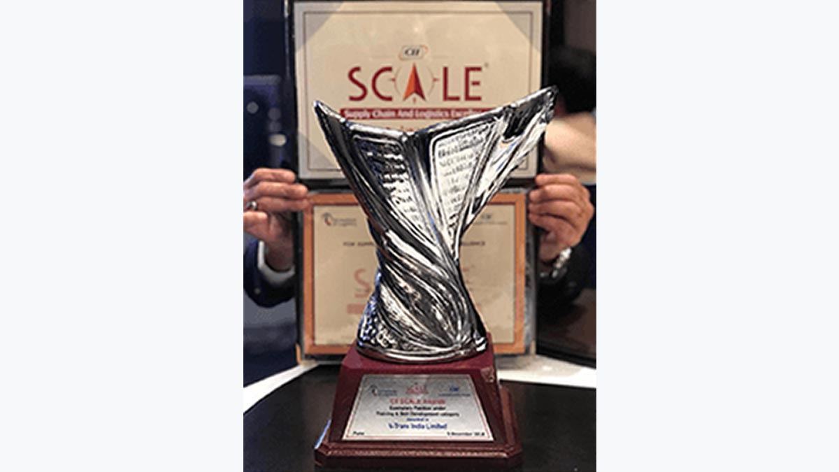 """V-Trans is honored to receive the prestigious CII Scale 2018 Awards for best company in """"Road Transport"""" and for """"Training & Skill development""""."""