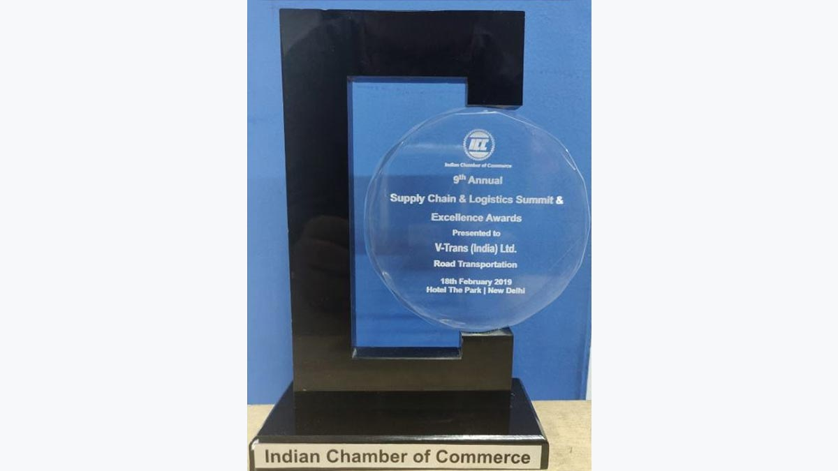 """Best Road Transport Company in India"""" for 2019, at 9th Edition – """"ICC – Supply Chain Logistics Summit & Excellence Award"""