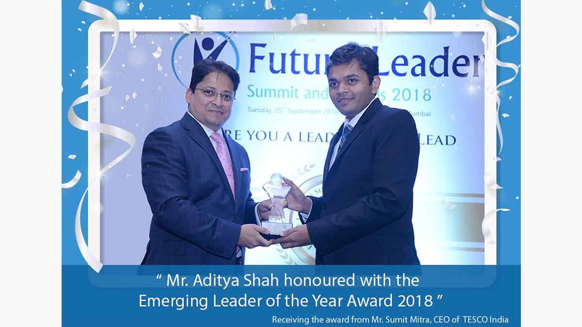 Our executive director Mr Aditya Shah, receiving the prestigious award from Mr Sumit Mitra CEO- TESCO at an event held by UBS forums at Westin Mumbai.