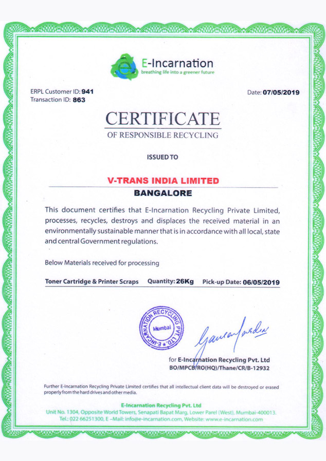 Recycle Certificate